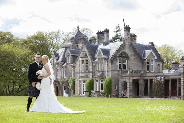 Bride and Groom on wedding day at Solsgirth House Hotel