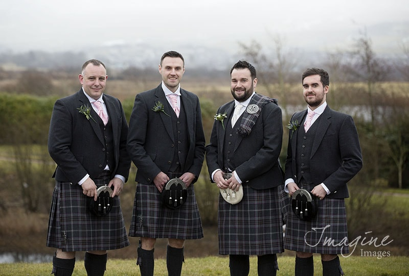 Groom with Groomsmen on wedding day at Lochside House Hotel in Ayrshire
