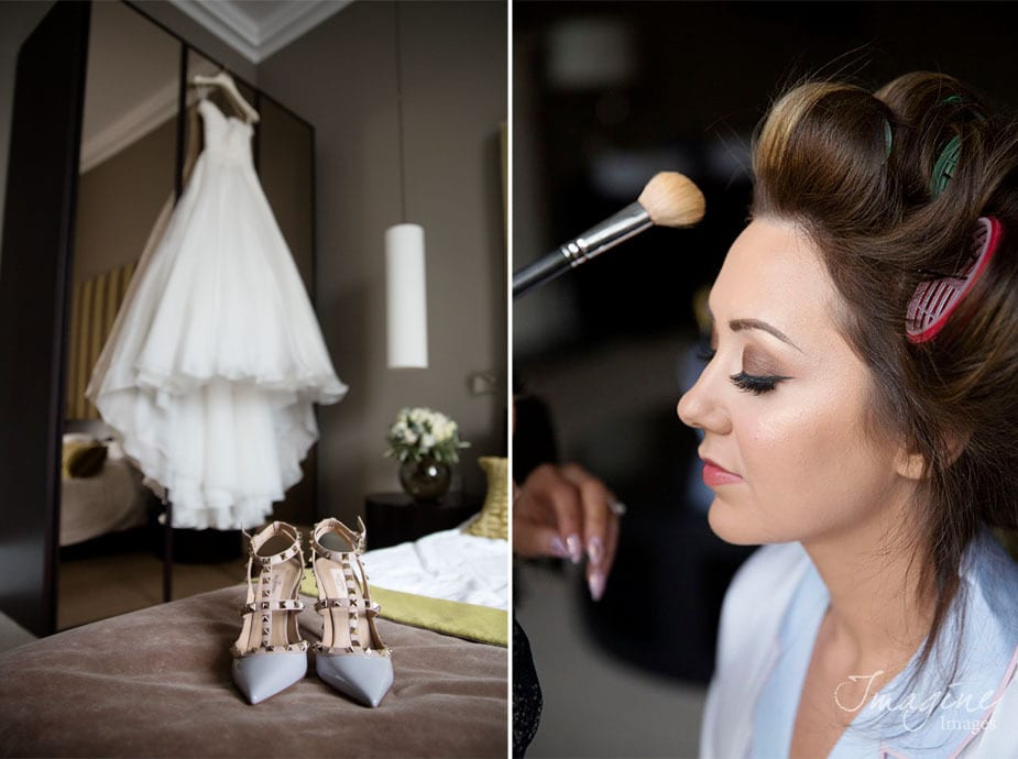 Bride preparations ahead of wedding day at Mansfield Traquair in Edinburgh