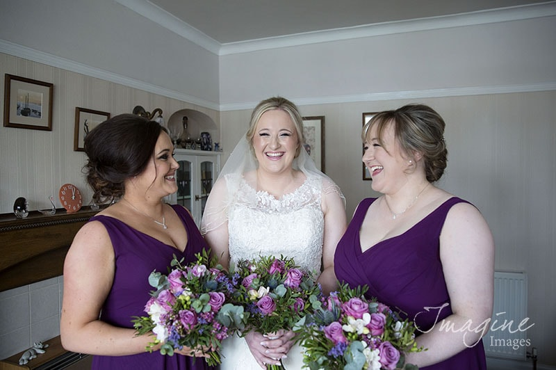Bride and bridesmaids on wedding day