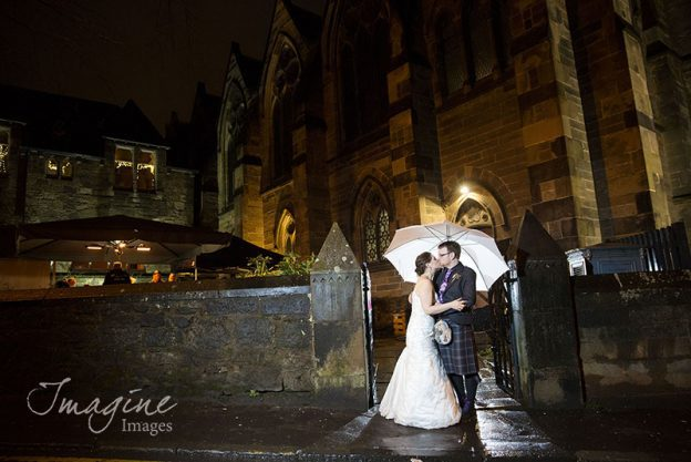 Bride and Groom on their wedding day at Cottiers in Glasgow