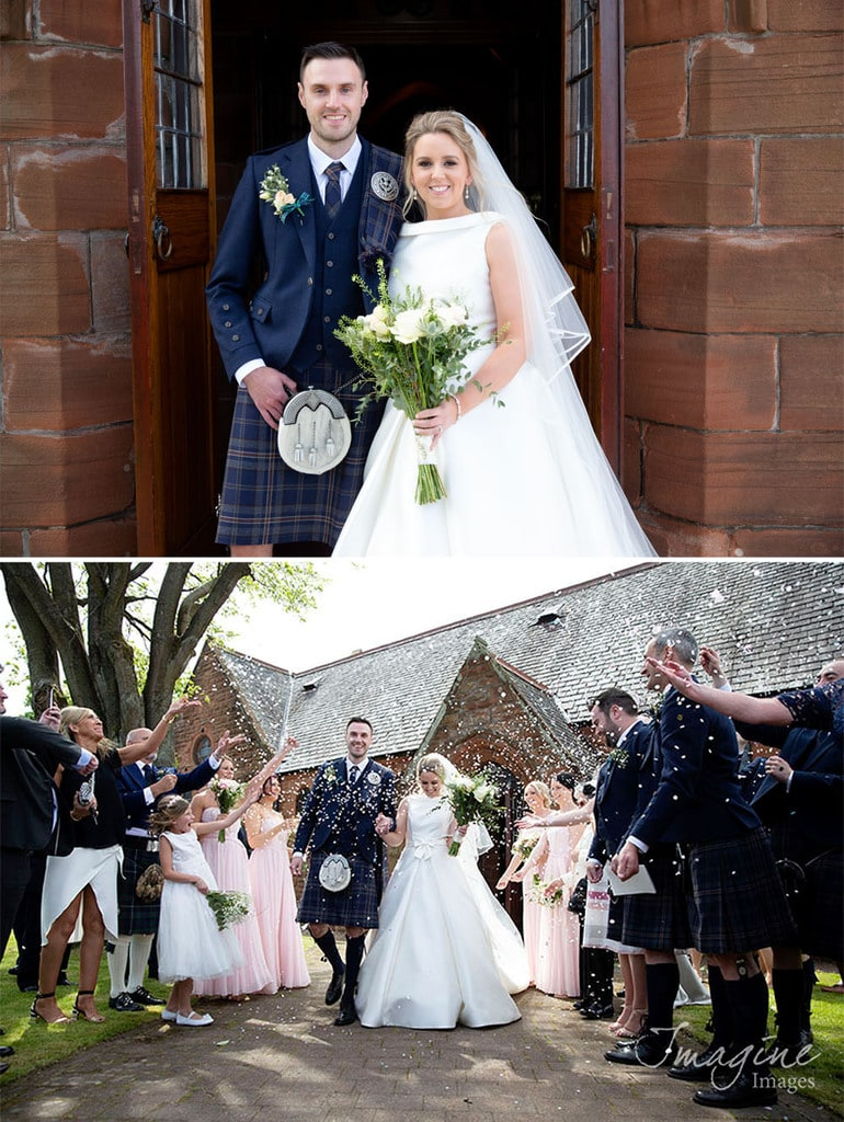 Bride and Groom on wedding day at Cardonald Parish Church