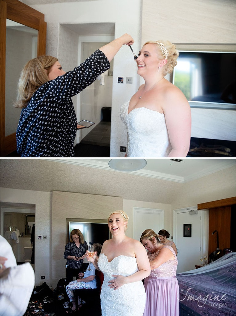Bride preparations ahead of wedding day at The Parsonage