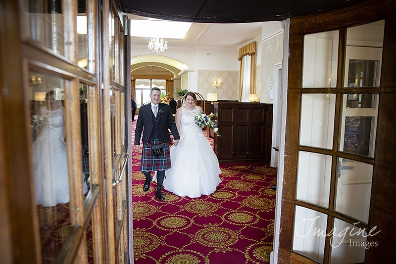 Bride and Groom on wedding day at Atholl Palace in Pitlochry