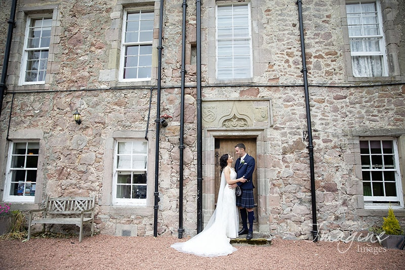 Bride and Groom together on wedding day at Shieldhill Castle