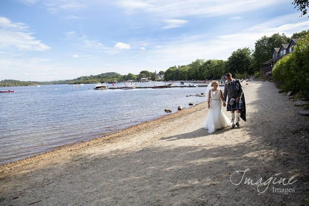 Bride and Groom on wedding day at Lodge on Loch Lomond