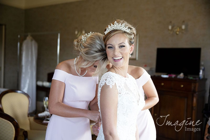 Bride preparations on wedding day at Cornhill Castle