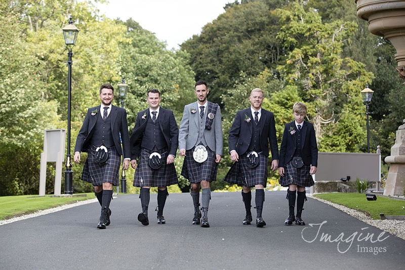 Groom and groomsmen on wedding day at Cornhill Castle