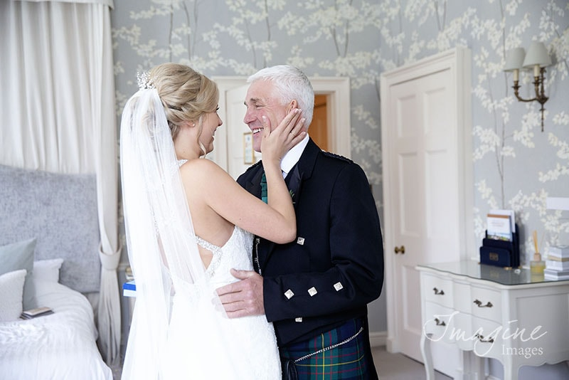 Bride and Dad on wedding day at Balbirnie House Hotel