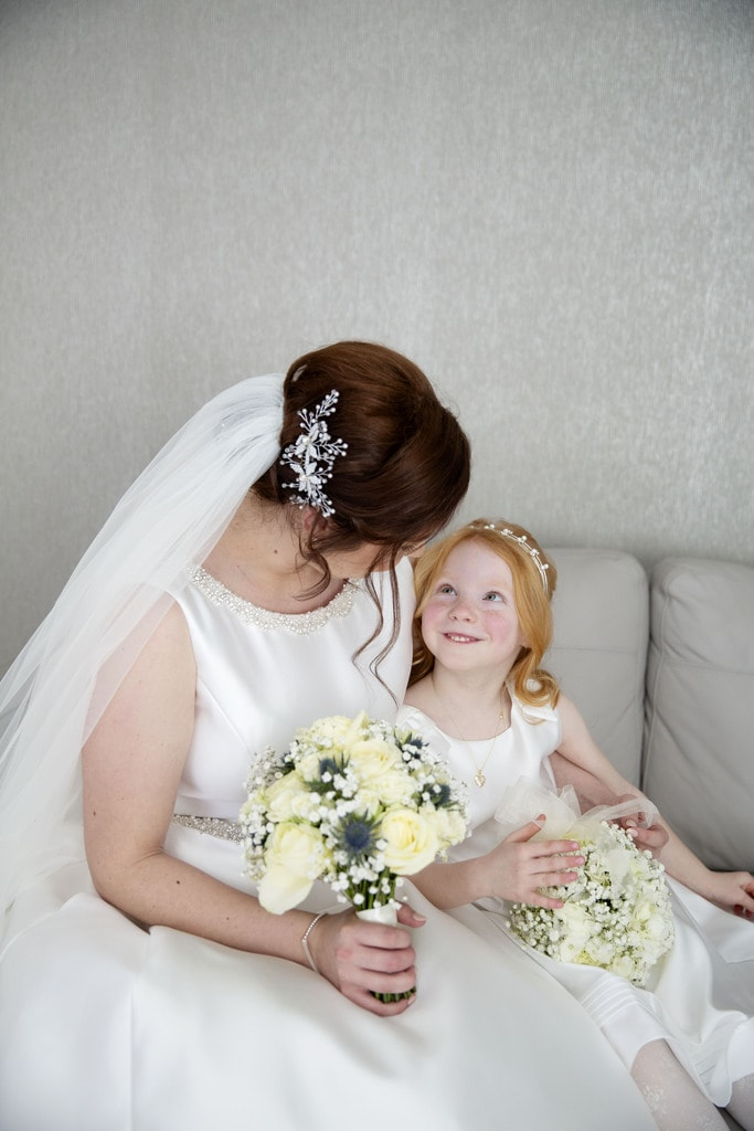 Bride and daughter on wedding day
