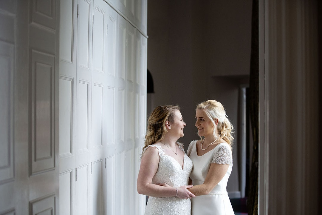 Brides together on wedding day at Airth Castle