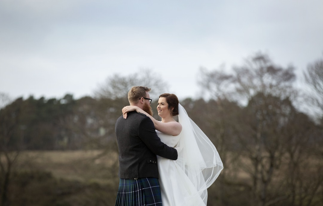 Bride and Groom on wedding day at Cornhill Castle