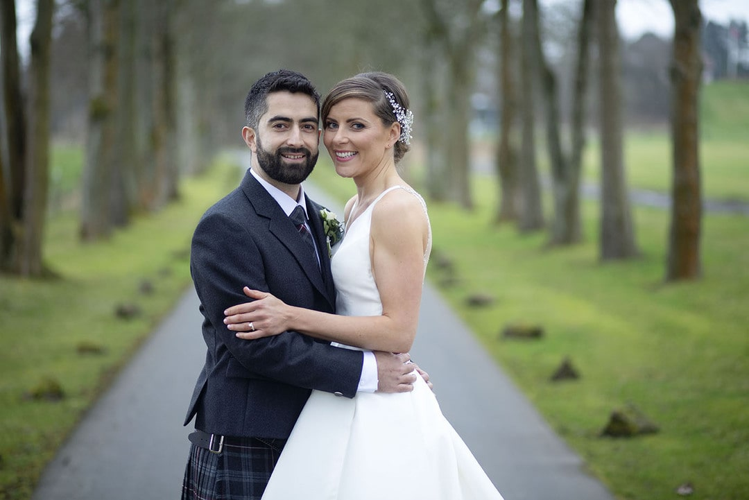 Bride and Groom together on wedding day at Glenbervie House Hotel