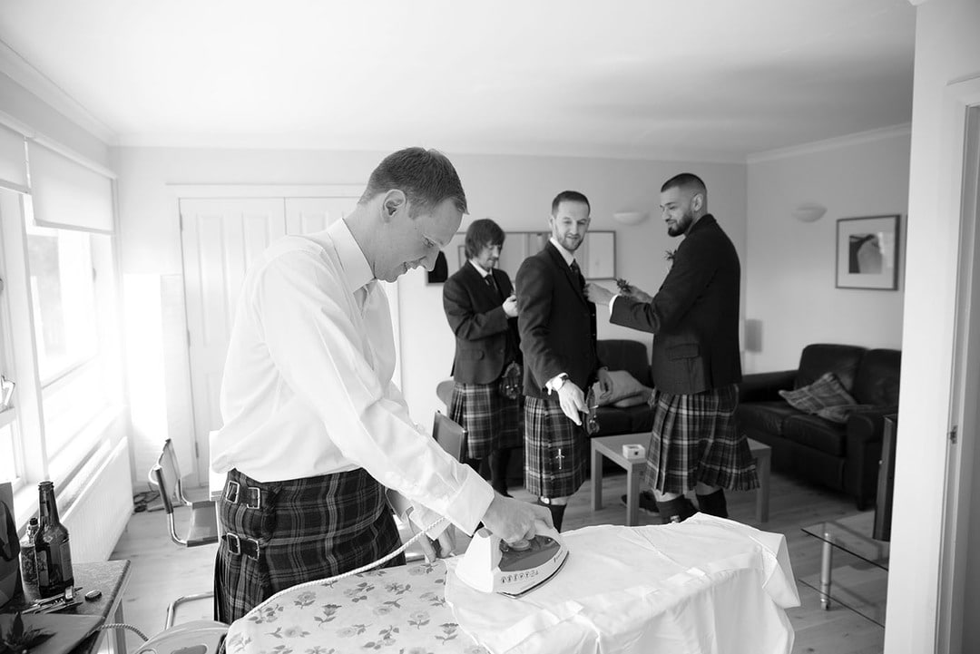 Groom preparations on wedding day at Rufflets House Hotel