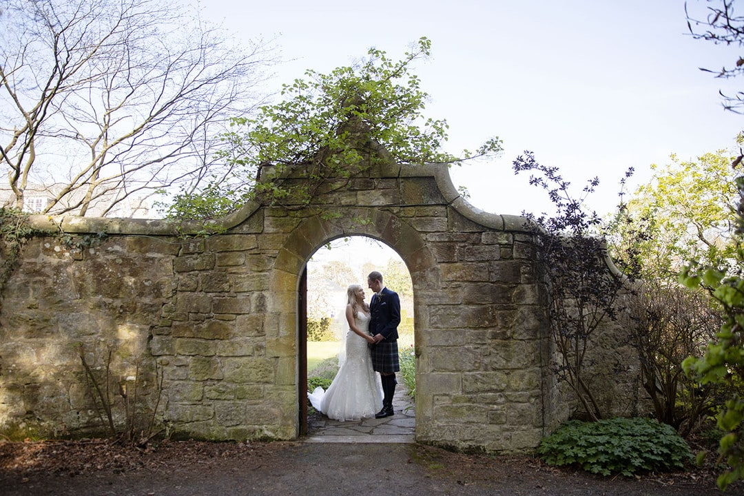 Bride and Groom on wedding day at Rufflets House Hotel