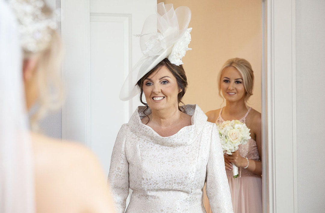 Mother of the bride with daughter on wedding day at Seamhill Hydro