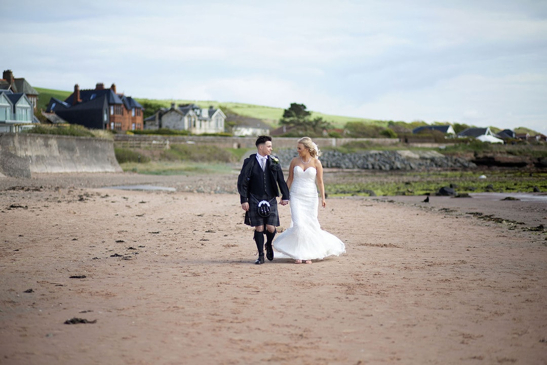 Bride and Groom on wedding day at Seamhill Hydro