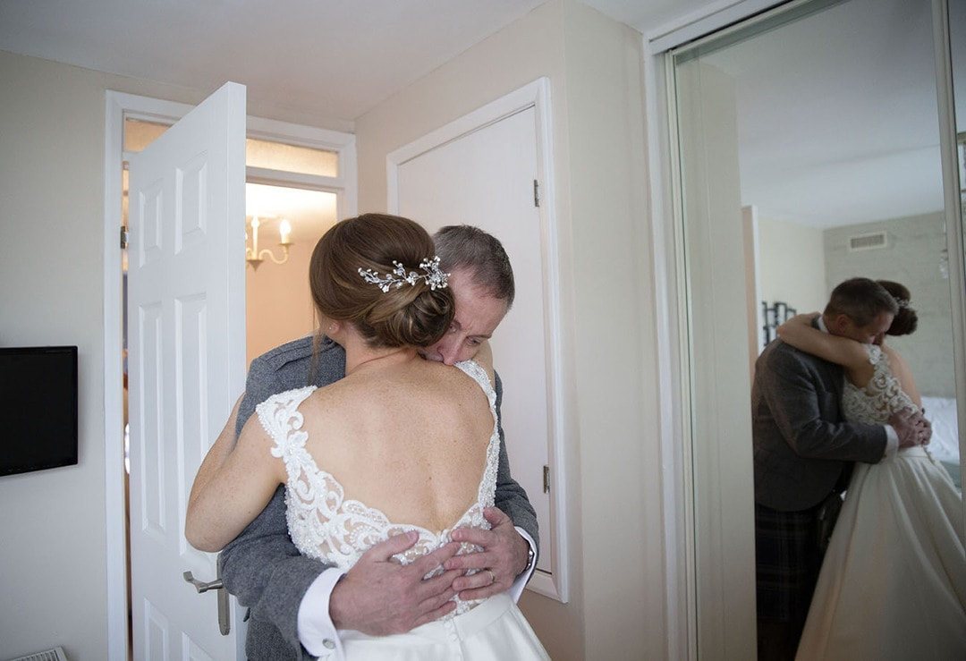 Bride and father on wedding day at The Waterside Hotel in West Kilbride
