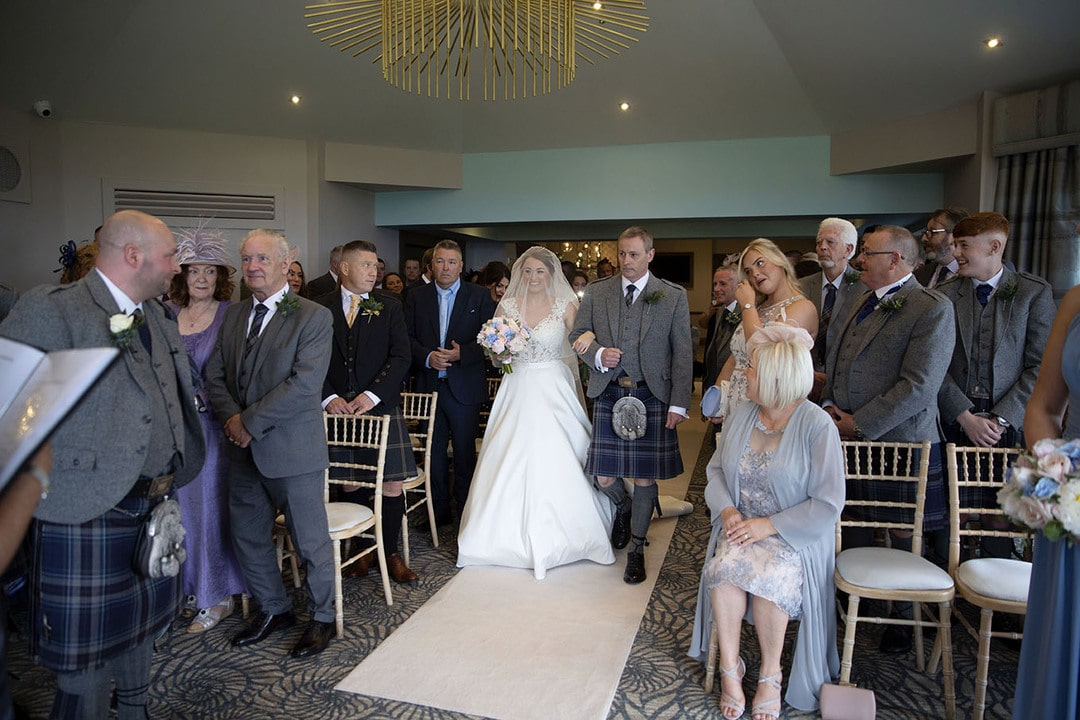 Wedding ceremony on wedding day at The Waterside Hotel in West Kilbride