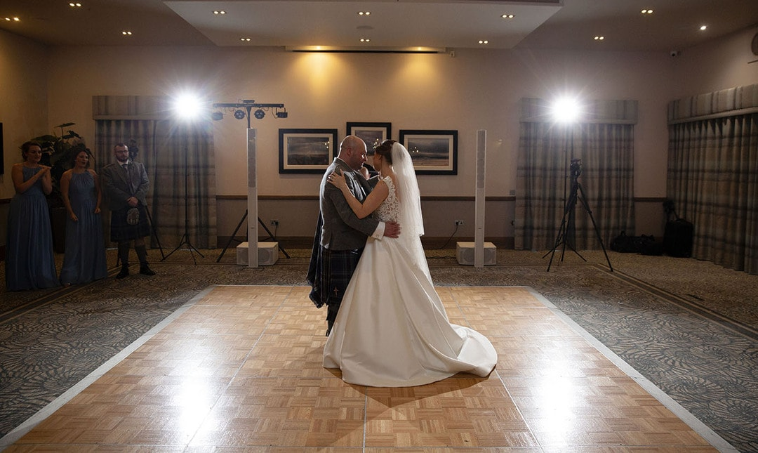 Bride and Groom during first dance on wedding day at The Waterside Hotel in West Kilbride