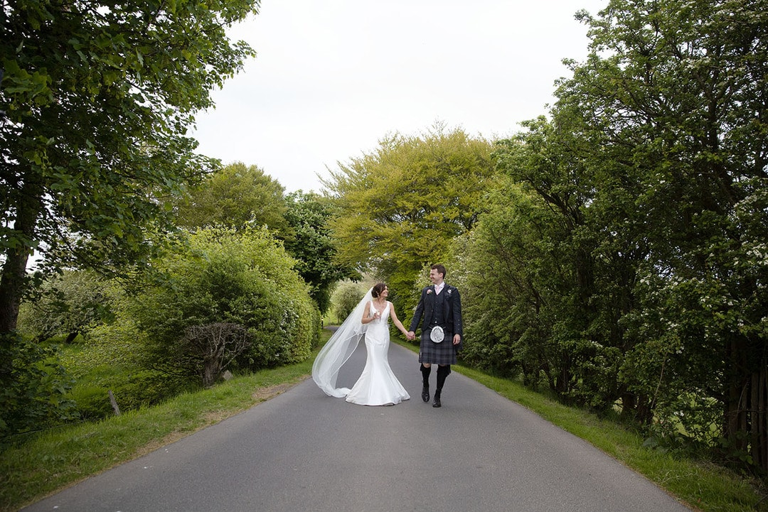 Bride and Groom together on wedding day at Lochside House Hotel
