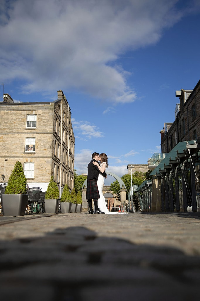 Bride and Groom first dance on Edinburgh streets on wedding day