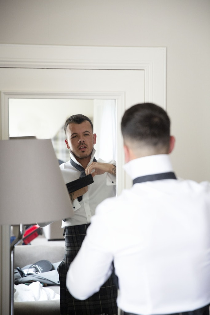 Groom preparations on wedding day at Murrayshall in Perth